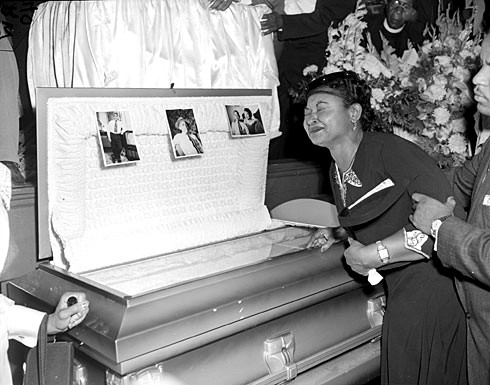 Till-Mobley weeps at her son's funeral on Sept. 6, 1955, in Chicago