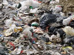 Plastic bags at landfill